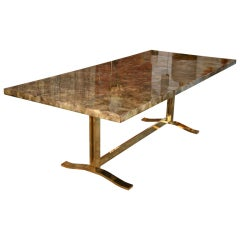 Italian Parchment & Resin Table with Solid Brass Legs