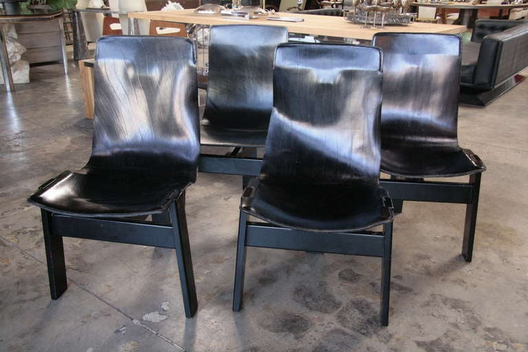 Four Leather Angelo Mangiarotti Quot Tre 3 Chair Quot By Skipper