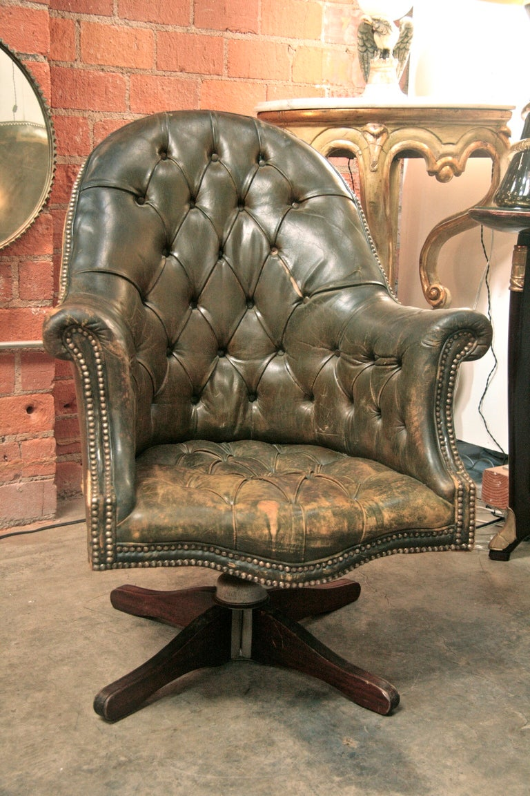 Italian 20 39 s chesterfield style swivel leather chair at for Decor jewelry chesterfield
