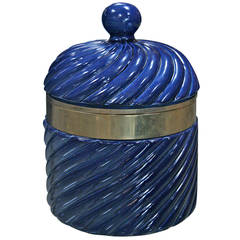 Ice Bucket in Blue Ceramic and Brass by Tommaso Barbi