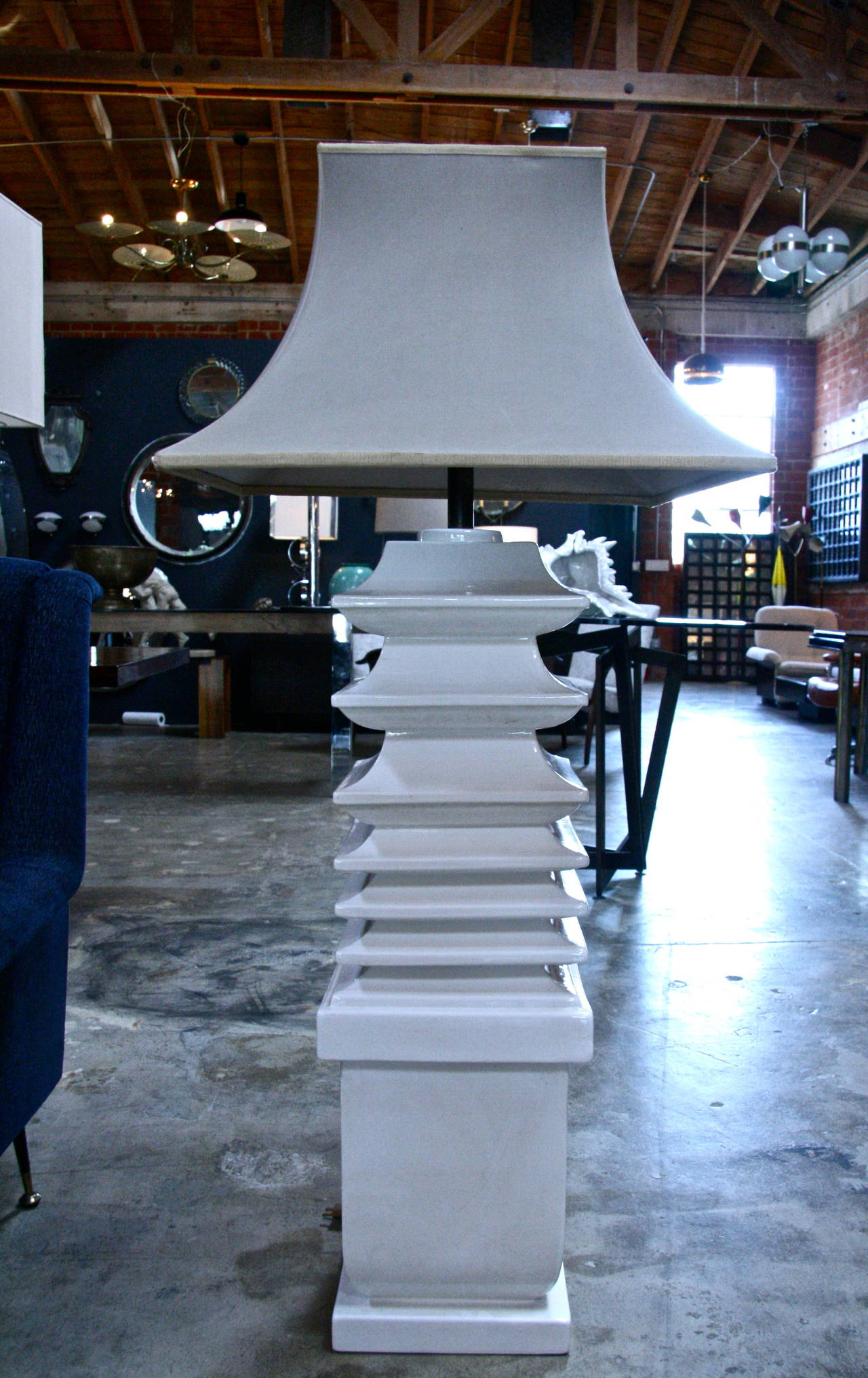 Italian Ceramic Floor Lamp by Tommaso Barbi In Good Condition For Sale In Los Angeles, CA