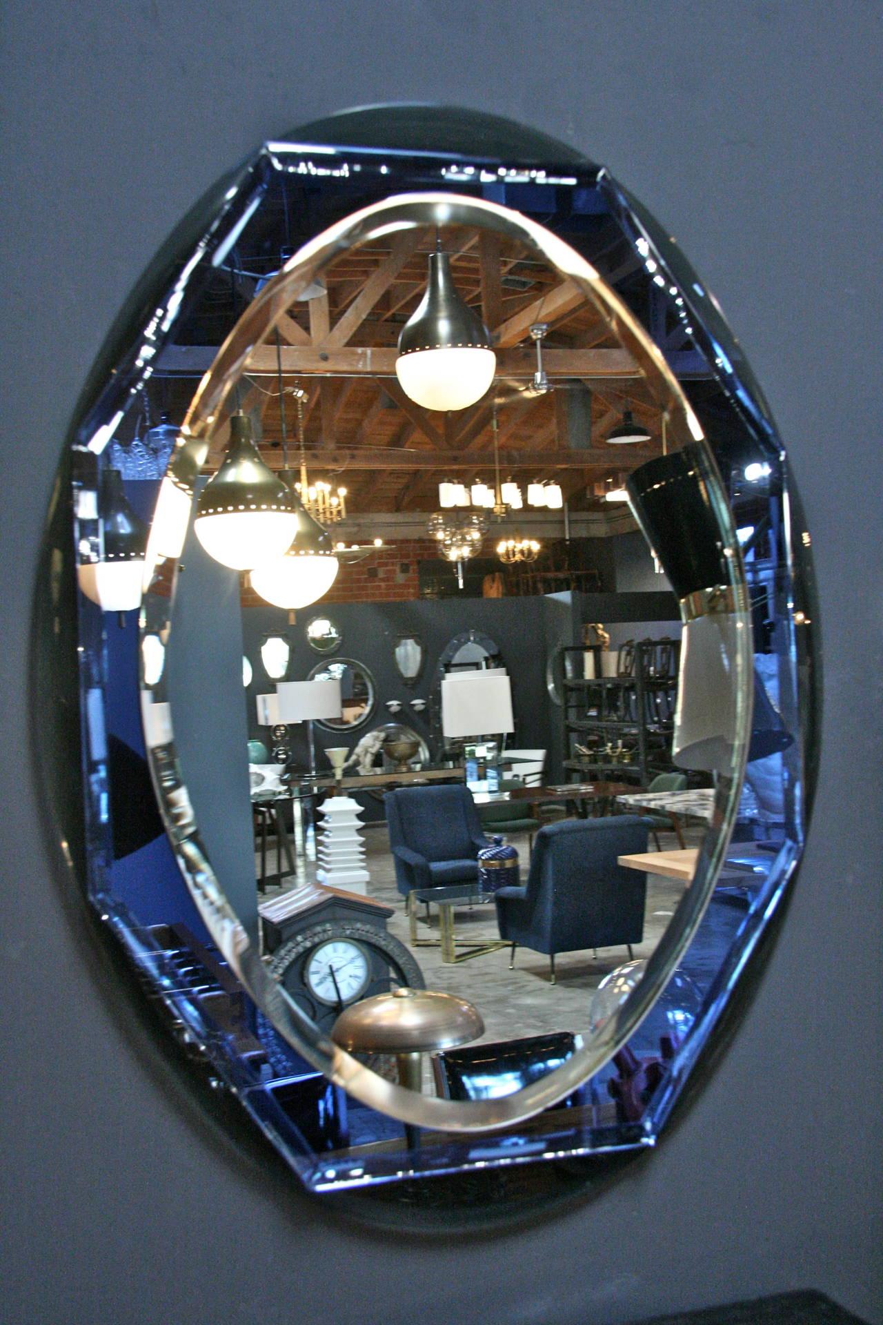 Italian 1960s Cobalt Blue Glass Rim Framed Mirror At 1stdibs