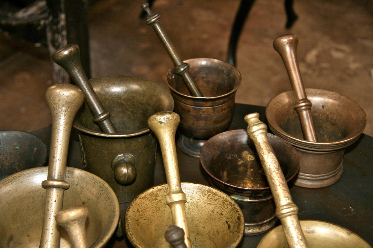 Collection of 17 Pharmacy Mortar and Pestles In Good Condition For Sale In Los Angeles, CA
