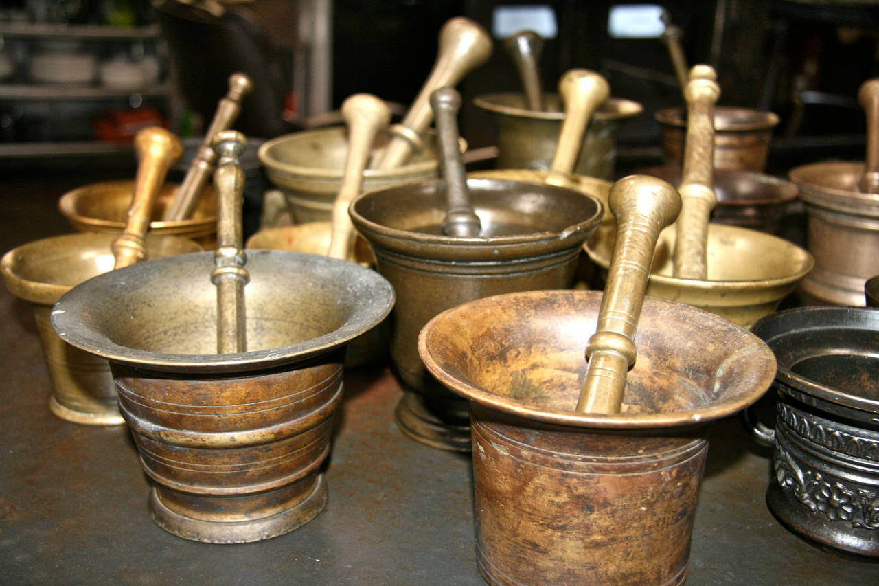 Brass Collection of 17 Pharmacy Mortar and Pestles For Sale