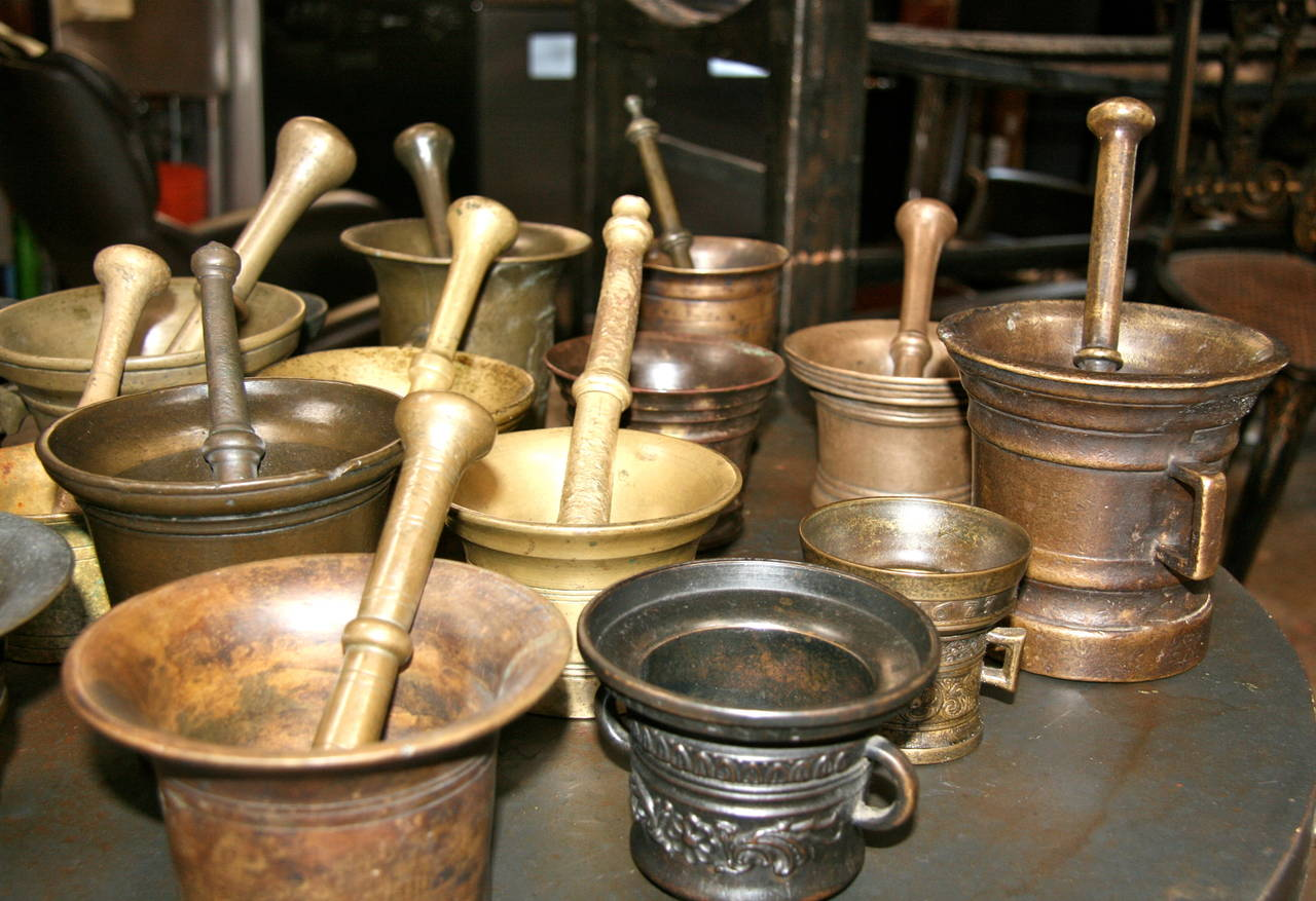 Collection of 17 Pharmacy Mortar and Pestles For Sale 2