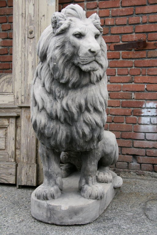 Pair Of French 40s Cement Lion Statues At 1stdibs