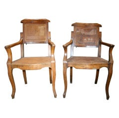 Pair Antiques Walnut Barber Chairs