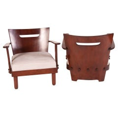 Italian 1950s Wood Lounge Chairs. Available four (4)