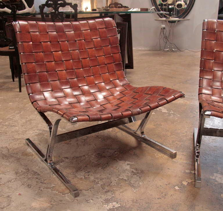 Ross Littell Steel and Woven Leather Lounge Chairs at 1stdibs
