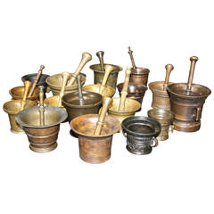 Collection of 17 Pharmacy Mortar and Pestles
