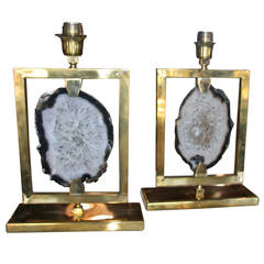 Pair of Italian Brass and Agate Lights