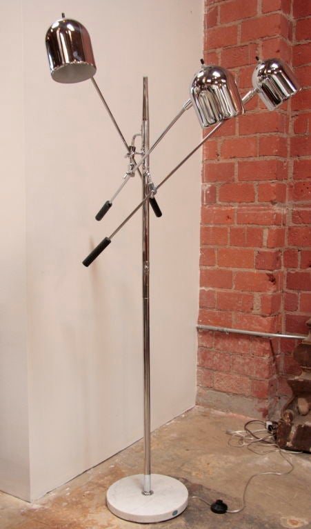 Floor Lamp in Polished Chrome with perforated dome shades and black metal handles