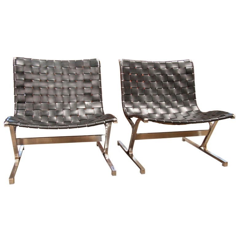 Steel and Woven Leather Lounge Chairs at 1stdibs