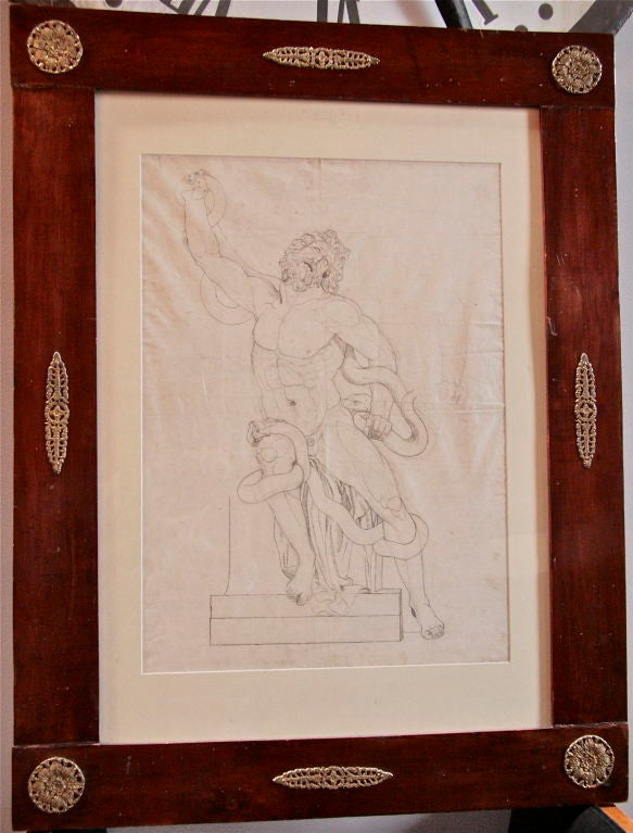Gorgeous pen and ink study of the famous marble statue at the Vatican entitled