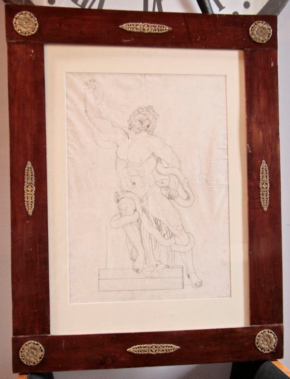 French 1820s Pen and Ink Study in 1830s French Charles X Frame In Excellent Condition For Sale In Los Angeles, CA