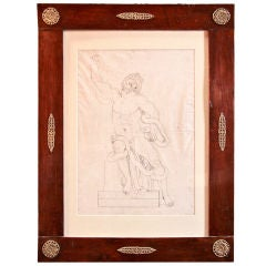 French 1820s Pen and Ink Study in 1830s French Charles X Frame
