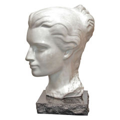 Italian Marble Woman's Head with Black Marble Base