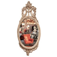 Italian 19th C. Oval Carved Wood Mirror With White Frame