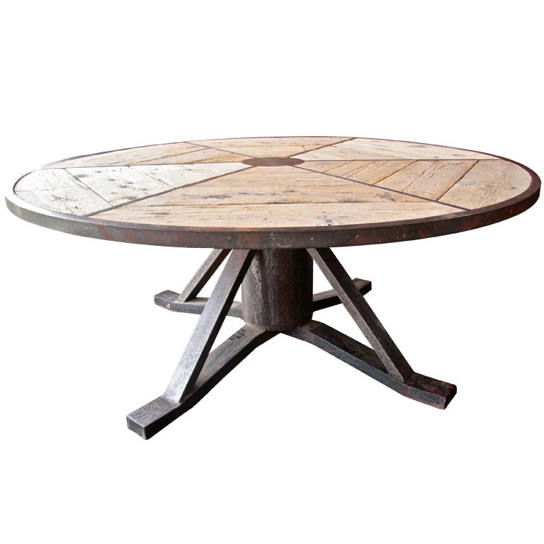 Bench Dining Vintage Industrial Bespoke Dining Table Bench: Industrial Italian Vintage Round Table