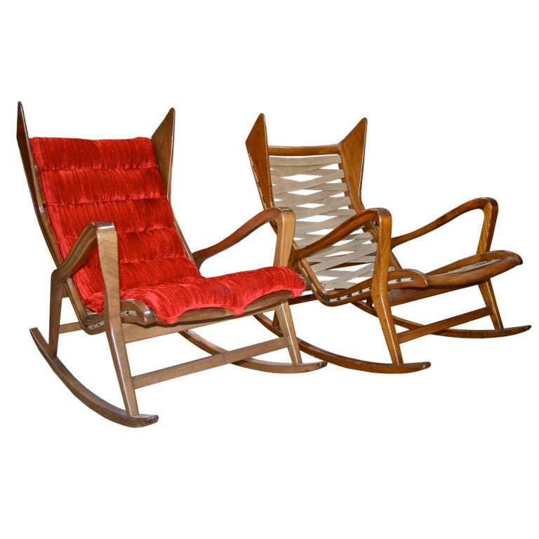 Pair Of Gio Ponti Rocking Chairs