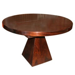 Italian 70s Round Table with Pyramid Base by Fratelli Saporiti