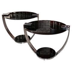Italian 70s Steel/Opaline Glass End Tables