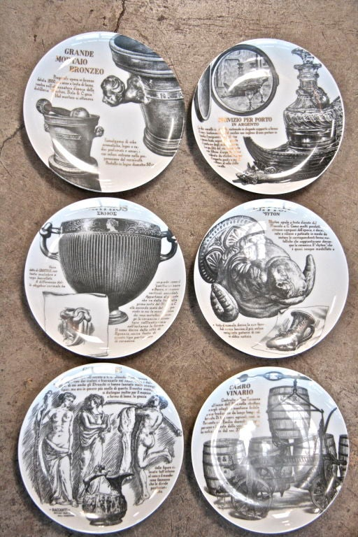 Series of 6 plates designed by Piero Fornasetti for Martini & Rossi from the good ol' 80s!