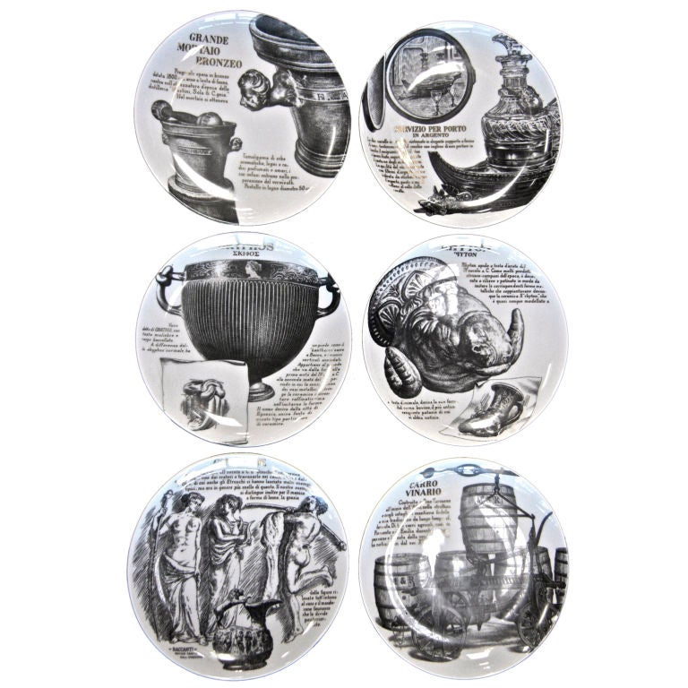 Set Of 6 Piero Fornasetti Plates For Sale
