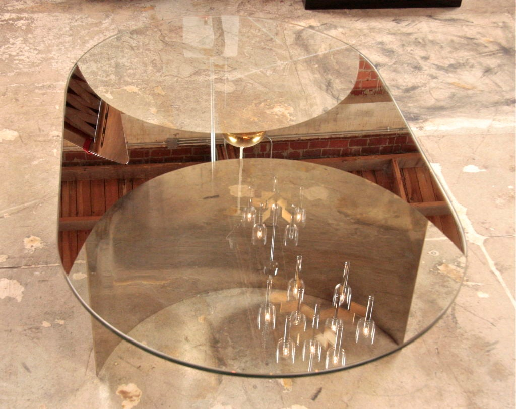 Contemporary Italian Mirror and Steel Table For Sale