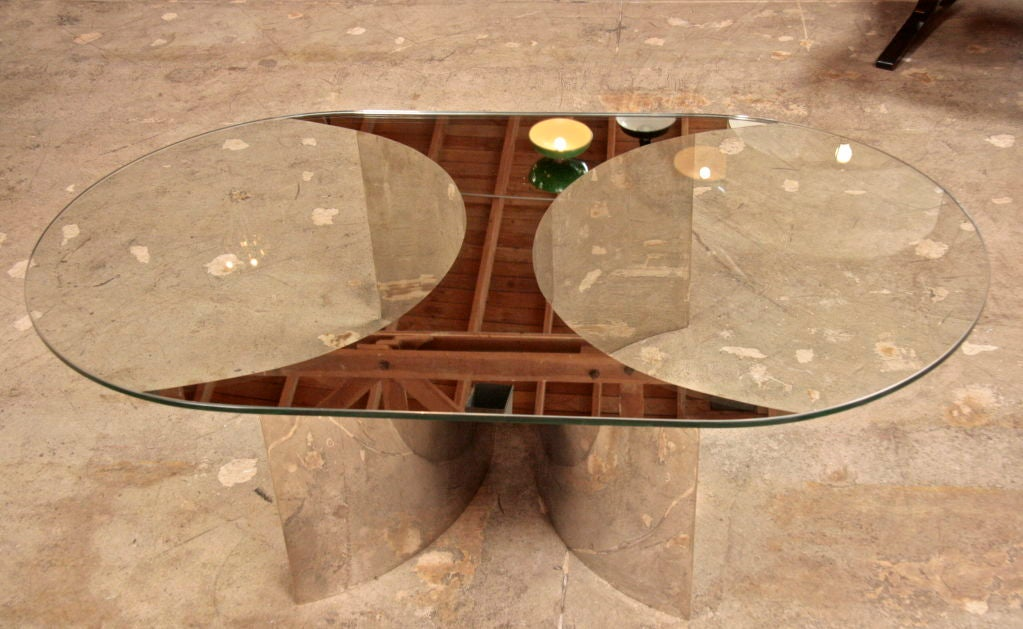 Italian Mirror and Steel Table For Sale 1