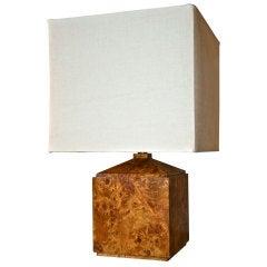 Italian 50's Wood Veneer Table Lamp