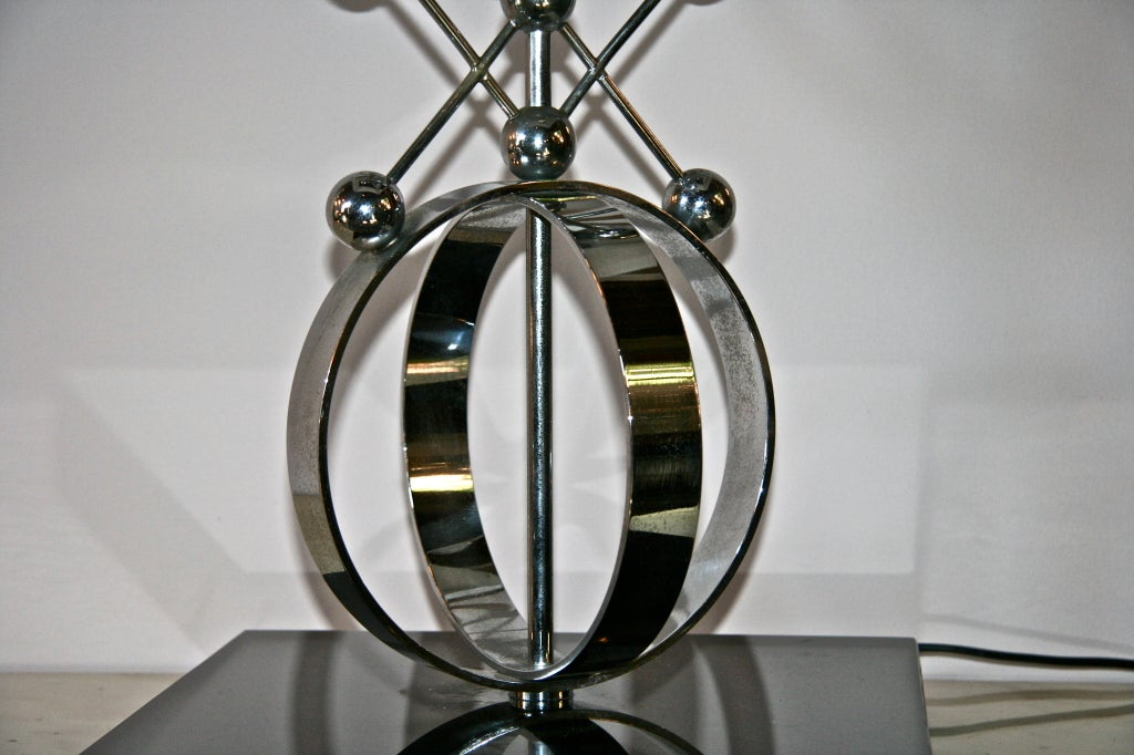 Marble Italian 70's Steel Circular Ring Table Lamp For Sale