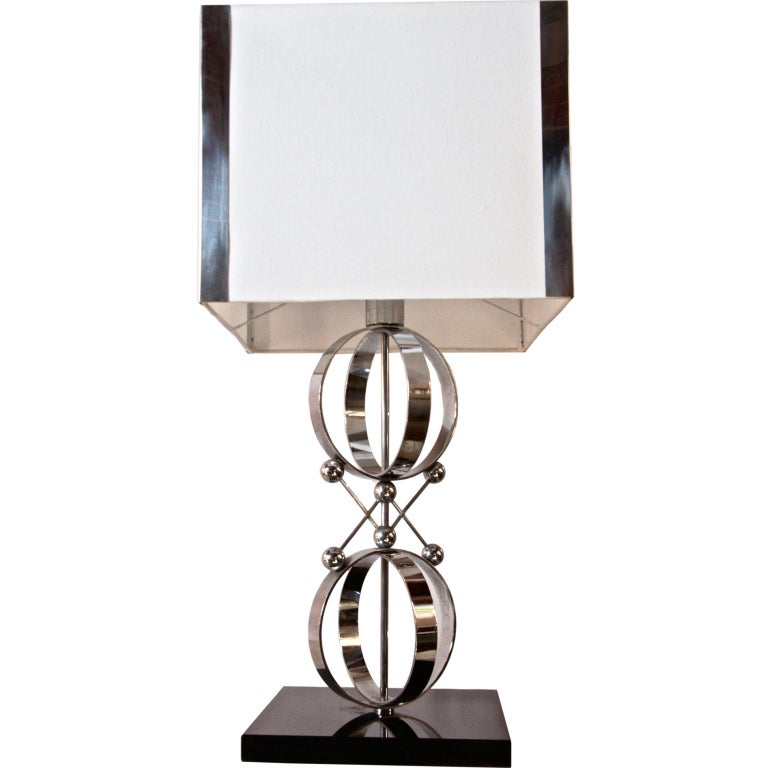 Italian 70's Steel Circular Ring Table Lamp For Sale
