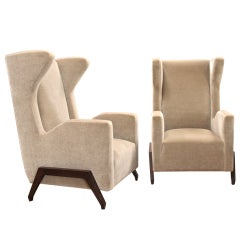 20th C. Contemporary Mohair Armchairs