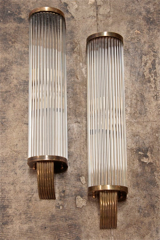 Italian 1960s Pair of Tubular Glass Sconces In Excellent Condition For Sale In Los Angeles, CA