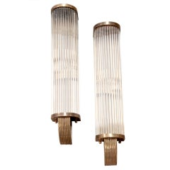 Italian 1960s Pair of Tubular Glass Sconces