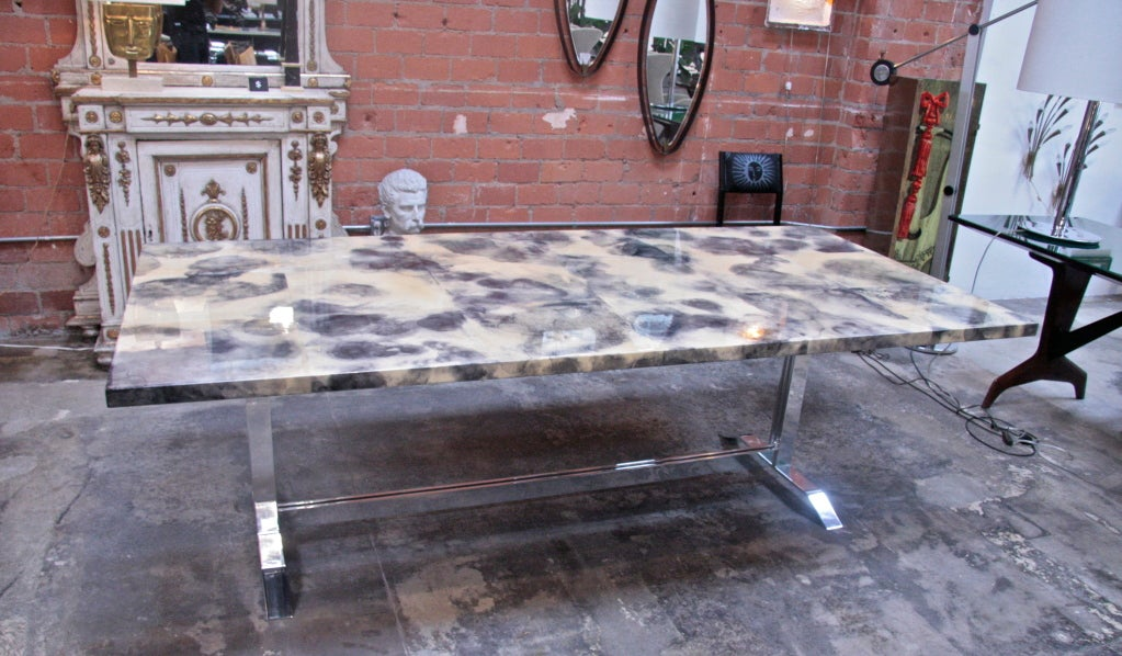 Parchment and Resin Dining Table with Stainless Steel Base 2
