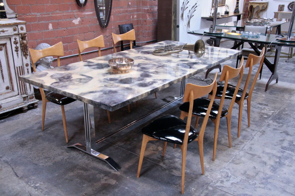 Italian Parchment and Resin Dining Table with Stainless Steel Base For Sale