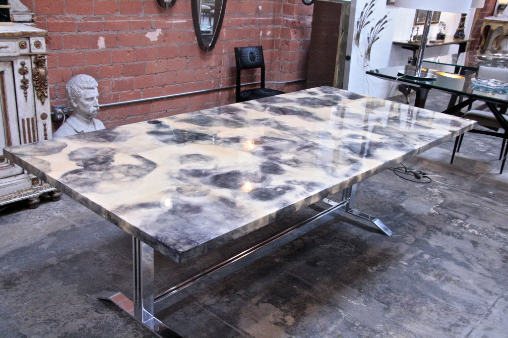 Parchment and Resin Dining Table with Stainless Steel Base In Excellent Condition For Sale In Los Angeles, CA