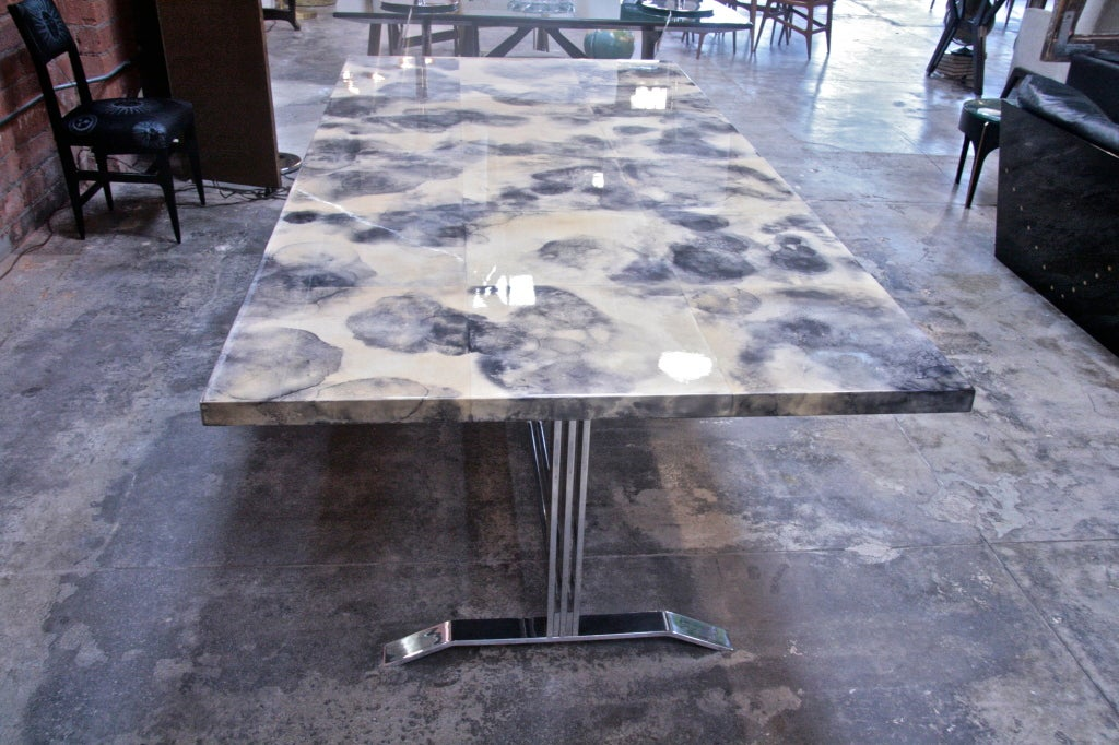 Mid-20th Century Parchment and Resin Dining Table with Stainless Steel Base For Sale