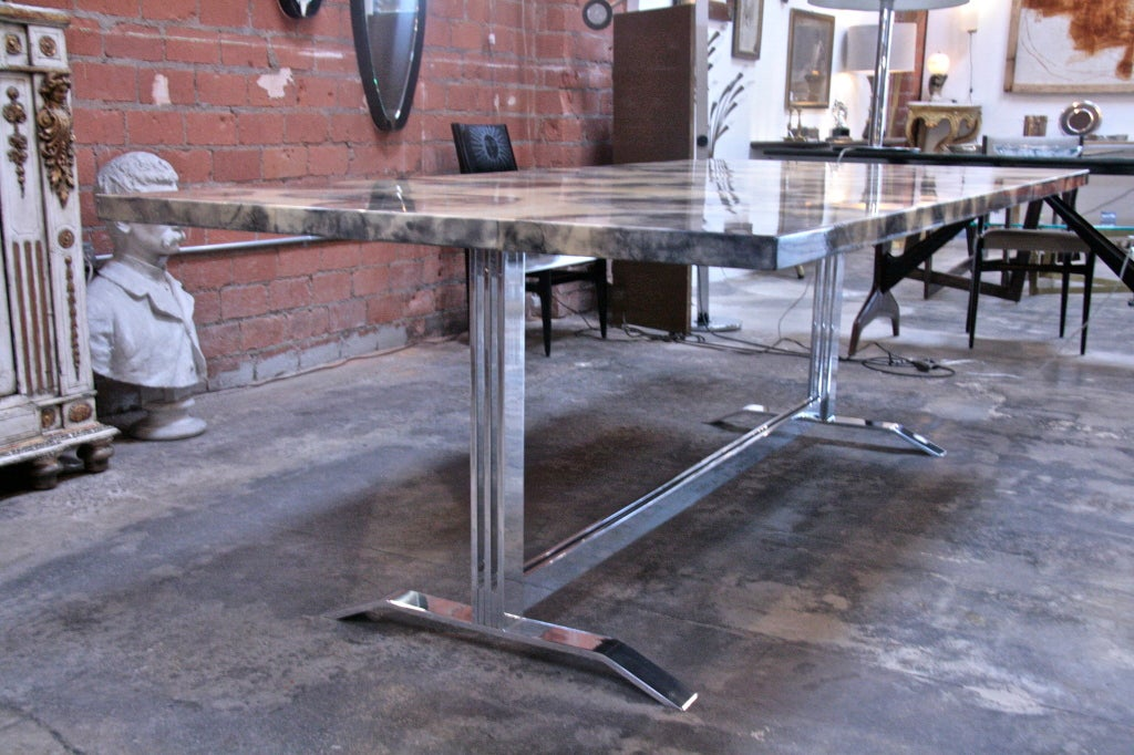 Parchment and Resin Dining Table with Stainless Steel Base For Sale 1