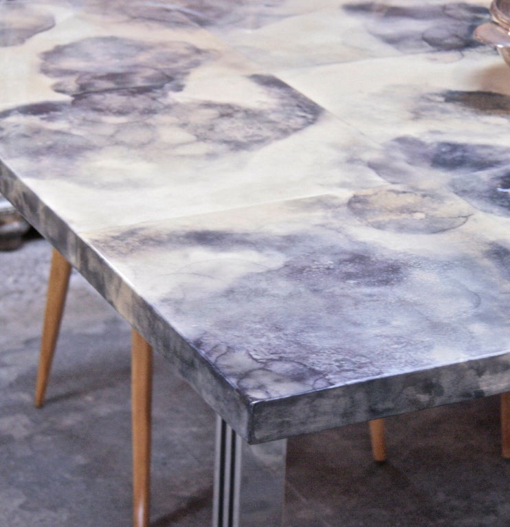 Parchment and Resin Dining Table with Stainless Steel Base 7