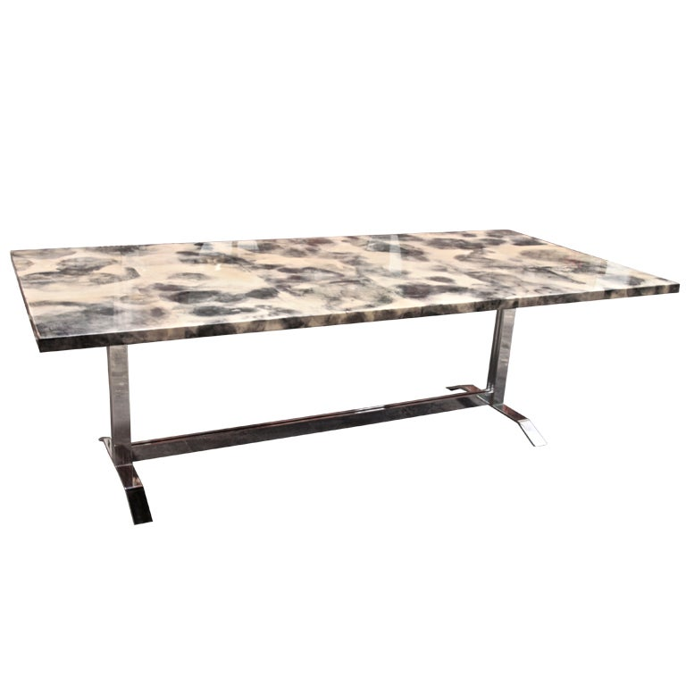 Parchment and resin dining table with stainless steel base for Stainless steel dining table