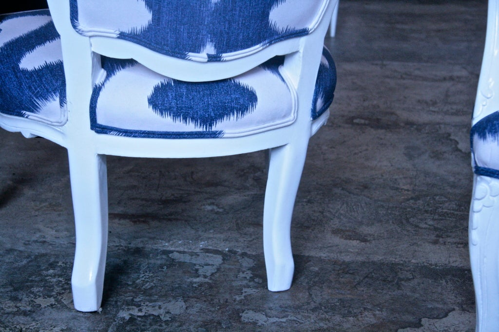 Italian White Lacquered Armchairs For Sale 3