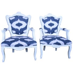 Italian White Lacquered Armchairs