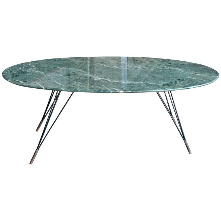 Italian 50 39 s green marble top coffee table at 1stdibs Coffee tables with marble tops