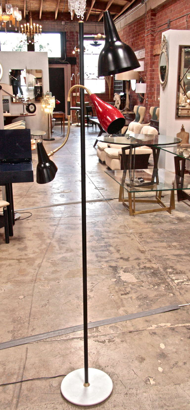 Italian 1950 Arteluce Floor Lamp W/ Marble Base In Excellent Condition For Sale In Los Angeles, CA