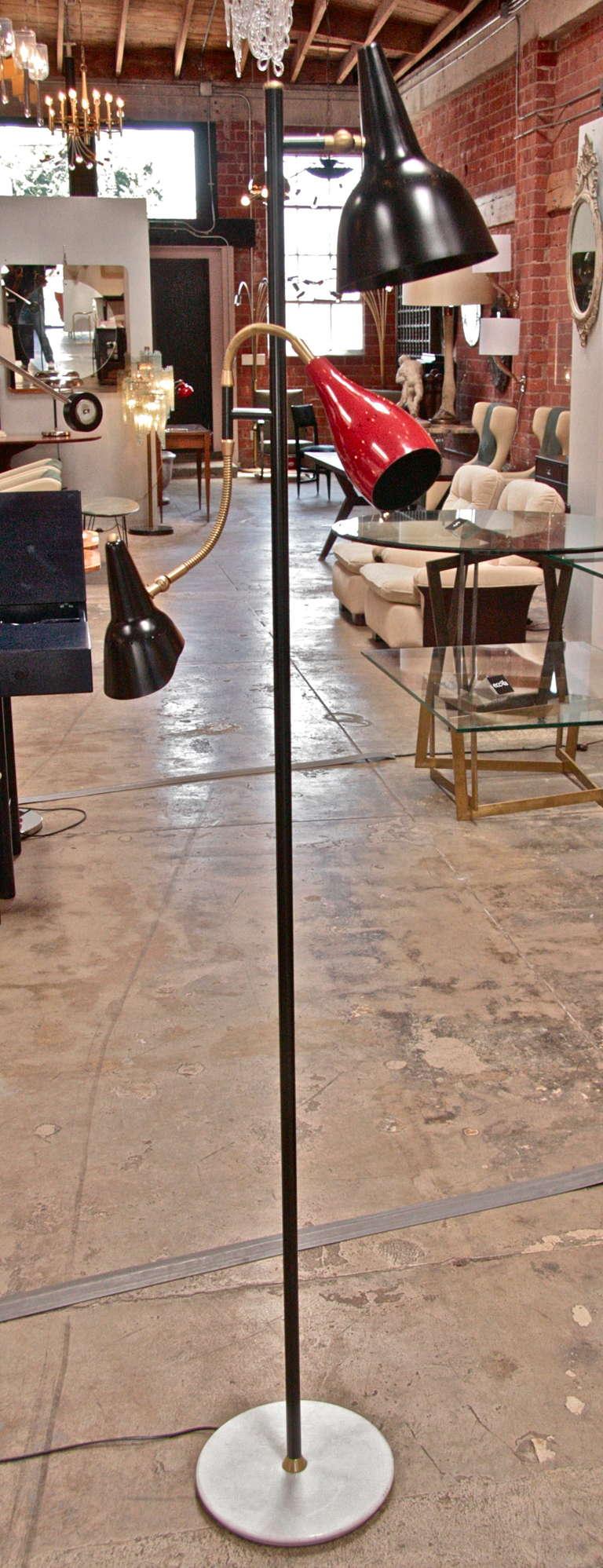 Mid-20th Century Italian 1950 Arteluce Floor Lamp W/ Marble Base For Sale