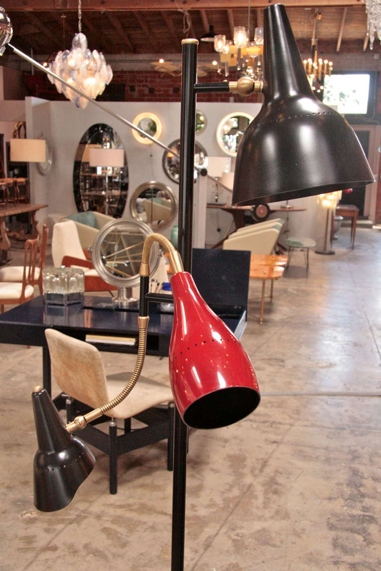 Brass Italian 1950 Arteluce Floor Lamp W/ Marble Base For Sale