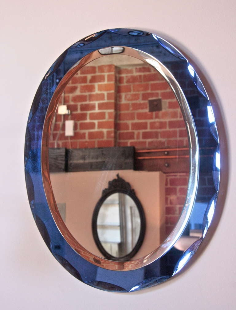 Italian Mirror With Cobalt Blue Glass Frame 1960 At 1stdibs